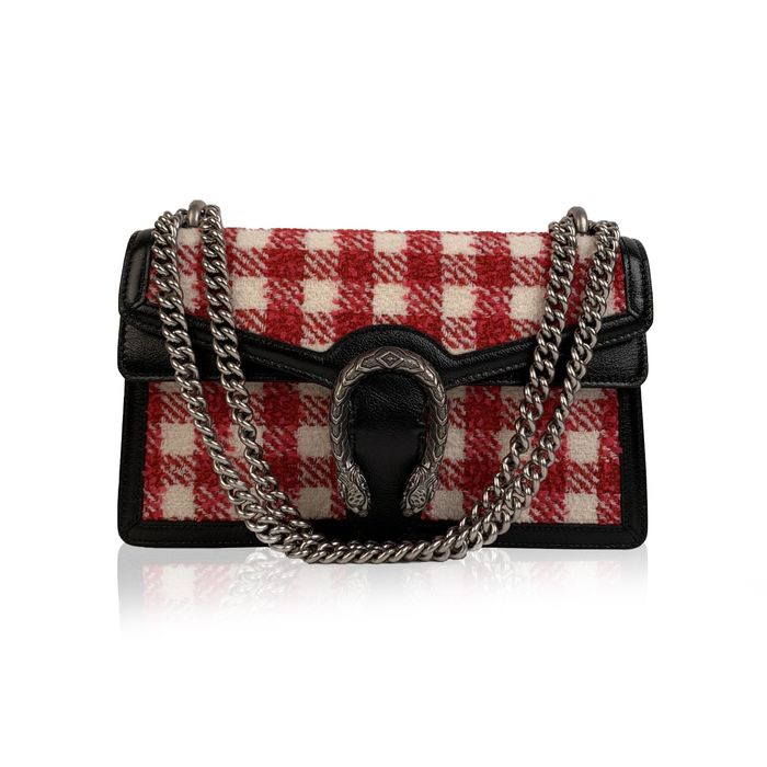 Gucci - Red White Vichy Check Dionysus Small Tweed Schultertasche
