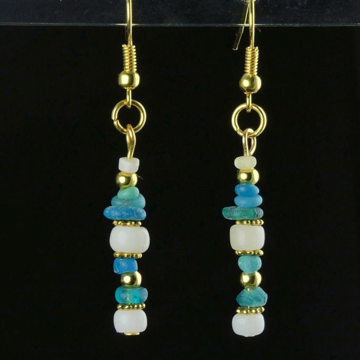 Ancient Roman Glass Earrings with turquoise and white glass beads - (1)