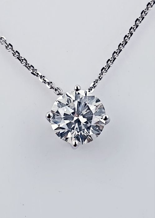 14 kt. White gold - Necklace with pendant - 0.81 ct Diamond - No Reserve F/VS1