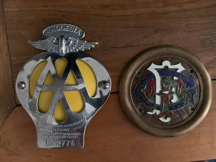 Badge - Plaketten AA Rhodesia & TCF France - Touring / Automobil Club - 1950-1960