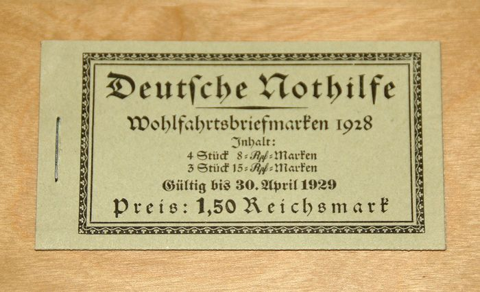 """Duitse Rijk 1926 - German Empire 1928 - """"Nothilfe"""" (Emergency Aid) stamp booklet, MNH MH 27.3"""