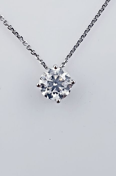 14 kt. White gold - Necklace with pendant - 0.80 ct Diamond - No Reserve F/VS1