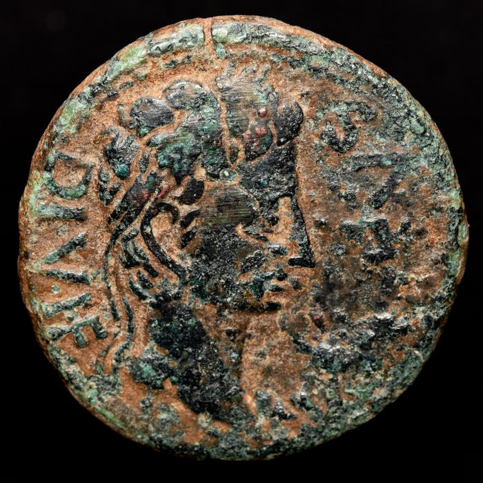 Roman Empire - Hispania, Cartagonova mint (Cartagena, Murcia). AE As, Augustus (27 B.C.-14 A.D.) - C VAR RVF SEX IVL POL II VIR Q Simpulum, aspergiullum, securis and apex