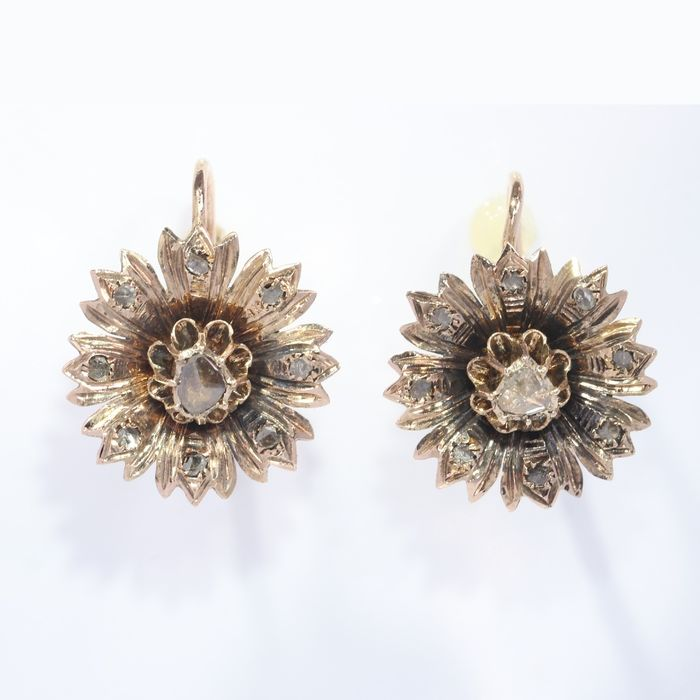 18 kt. Pink gold - Earrings, Very short hanging, Antique Victorian, Anno 1890 Diamond - Natural (untreated), NO RESERVE PRICE