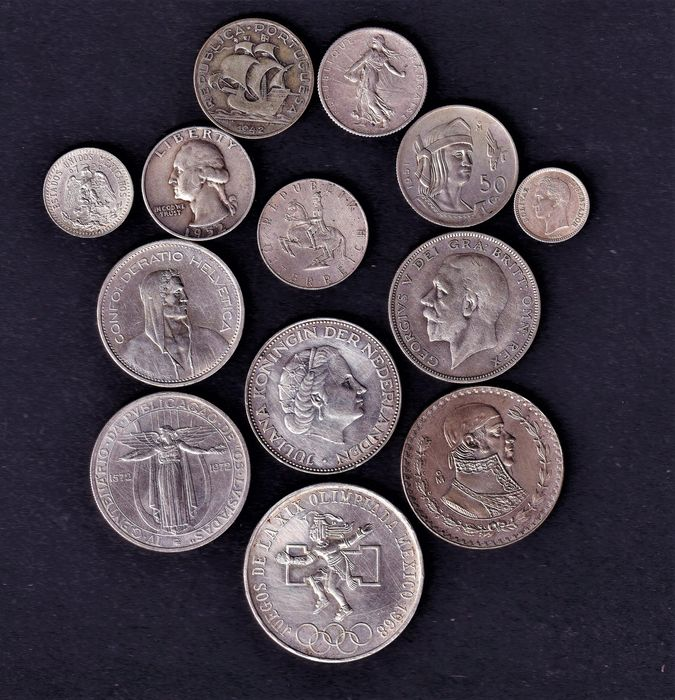 World - Lot various coins 20th century (13 pieces)  - Silver