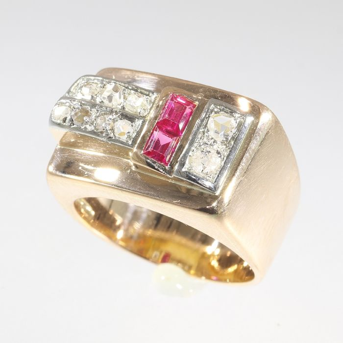 18 kt. Pink gold, White gold - Ring, Vintage 1950's Retro Fifties - Ruby - Natural (untreated), Free resizing*