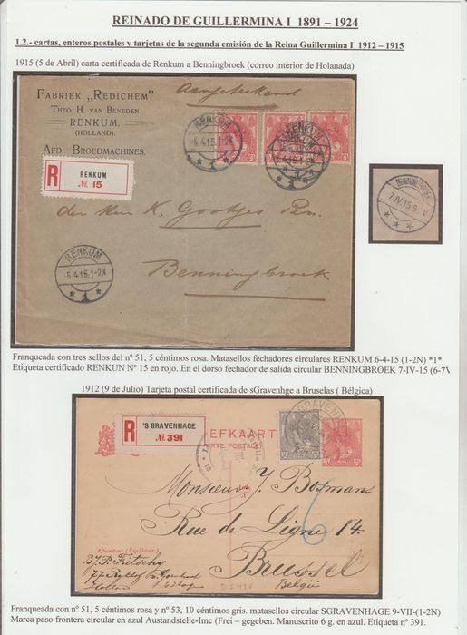 Pays-Bas 1901/1917 - Wilhelmina 'Fur collar' on 4 letters and 2 postcards + 1 postal sheet and 1 fragment