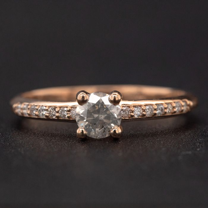 14 kt. Pink gold, 1.67g - Ring - 0.49 ct Diamond - No Reserve Price
