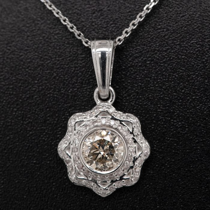 14 kt. White gold, 2.44g - Necklace with pendant - 0.61 ct Diamond - No Reserve Price
