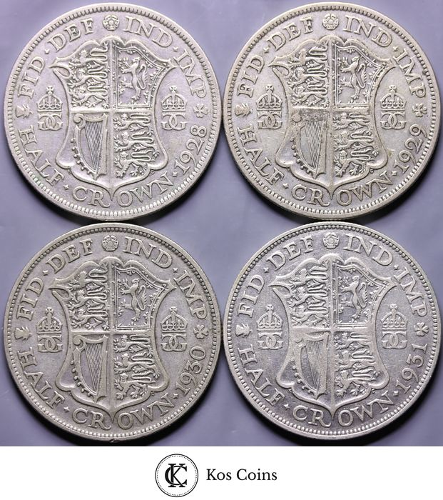 Great Britain - ½ Crown 1928+1929+1930+1931 George V (4 different)  - Silver