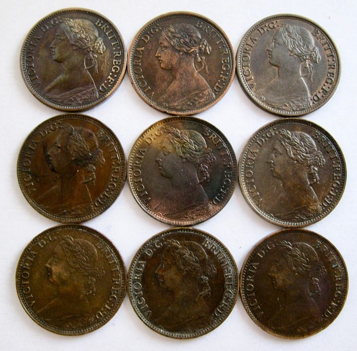 Great Britain - Farthing 1862/1895 - Victoria (9 different coins) high grades - Bronze