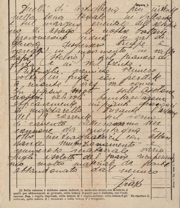 Armando Diaz (transcription from) - Military Manuscript; WWI Bulletin News from the Front Bombing of the Mazzarello Railway Facilities - 1918