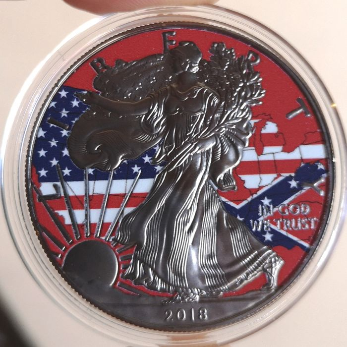 United States. 1 Dollar 2018 Silver Eagle United States Flag Ruthenium Colorized - 1 Oz