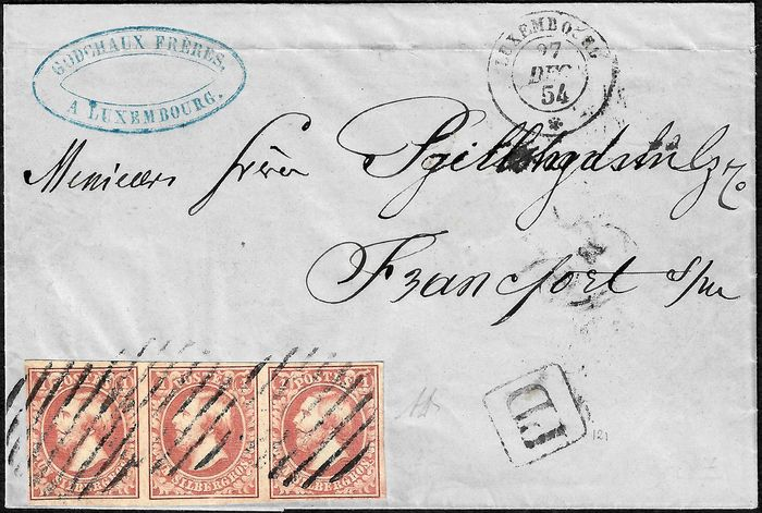 Luxemburg 1852 - Guillaume III, 1 centime brown-red, strip of three on a letter bound for Frankfurt. - Yvert 2