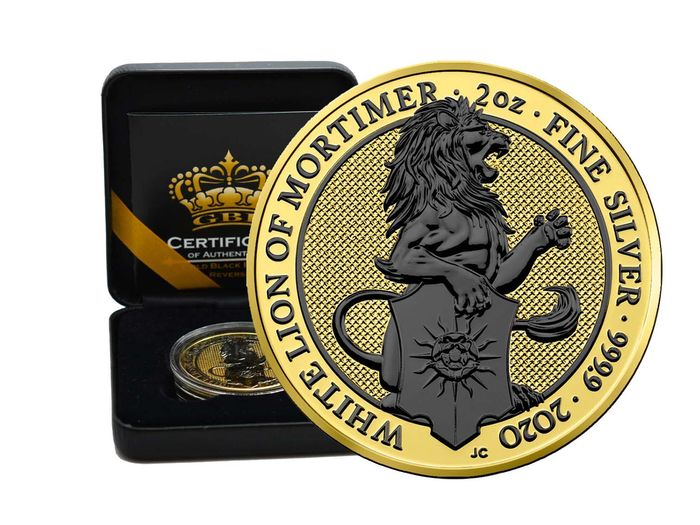 Royaume-Uni. 2 Pound 2020 Queens Beasts White Lion of Mortimer Gold Black Empire reverse - 2 Oz