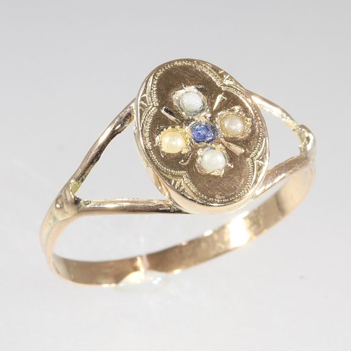18 kt. Pink gold - Ring, Antique Victorian, Anno 1880 - Pearl - Blue Strass, Free resizing* NO RESERVE PRICE