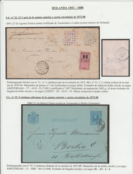 Pays-Bas 1874/1891 - Selection of seven letters and a postcard - NVPH 19, 21, 22, 23, 33