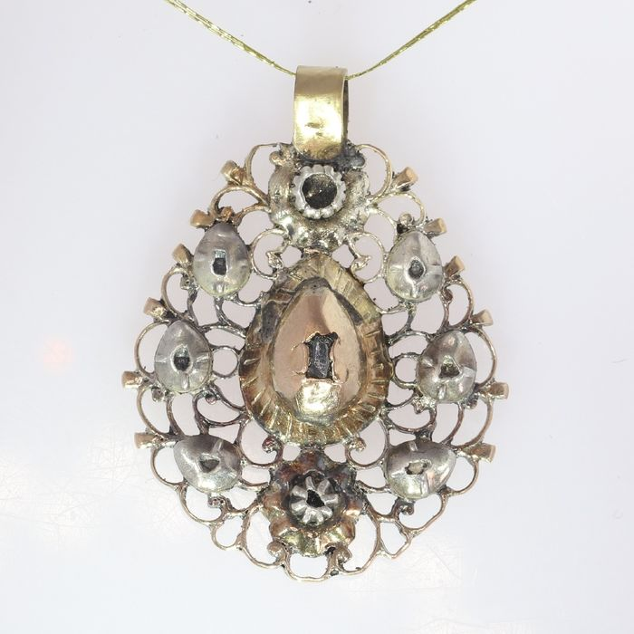 18 kt. Pink gold - Pendant, Mid-Georgian, Anno 1750 Diamond - Natural (untreated),  NO RESERVE PRICE