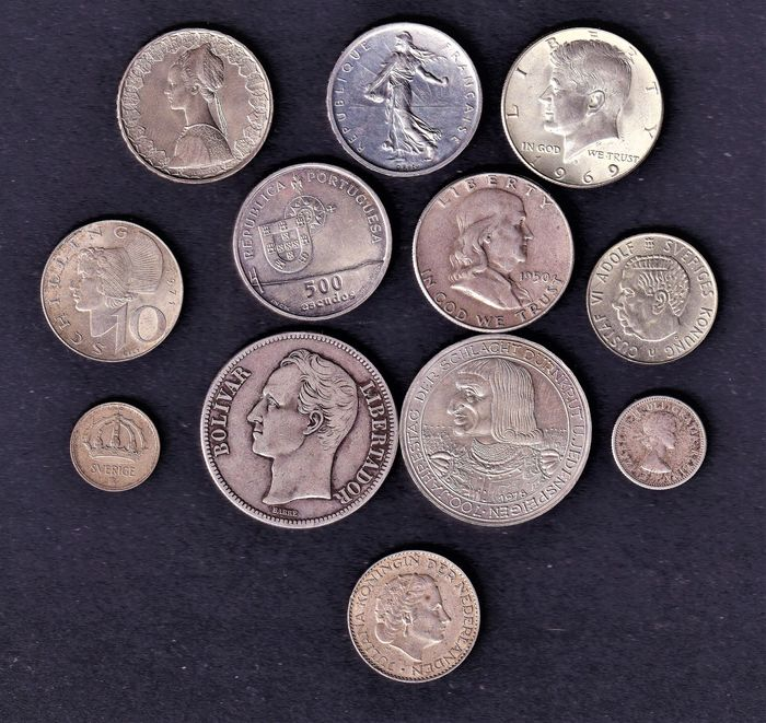 World - Lot various coins 20th century (12 pieces)  - Silver