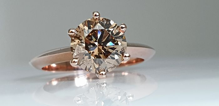 14 kt. Pink gold - Ring - 2.15 ct Diamond - No Reserve