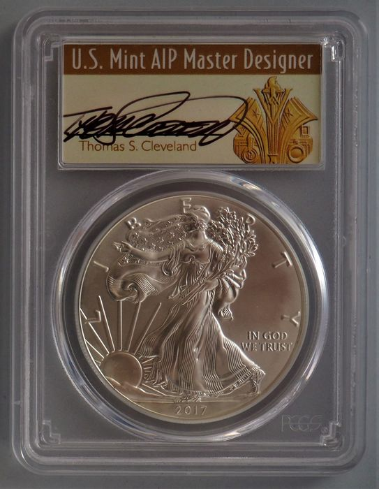 United States - 1 Dollar 2016 Silver Eagle PCGS MS70 Thomas Cleveland signed - Silver