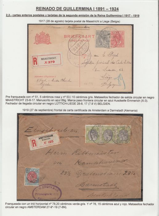 Pays-Bas 1905/1919 - Wilhelmina 'Fur Collar' and numeral stamps on 6 letters and 2 postcards