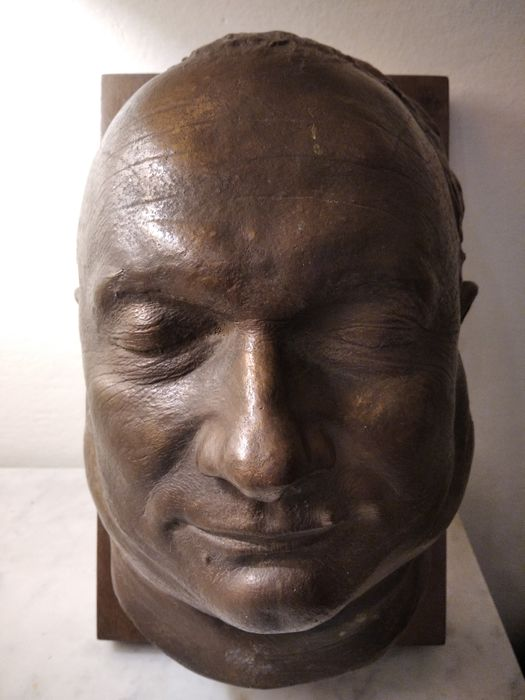 Sculpture, face of a man - Bronze, Wood - Early 20th century