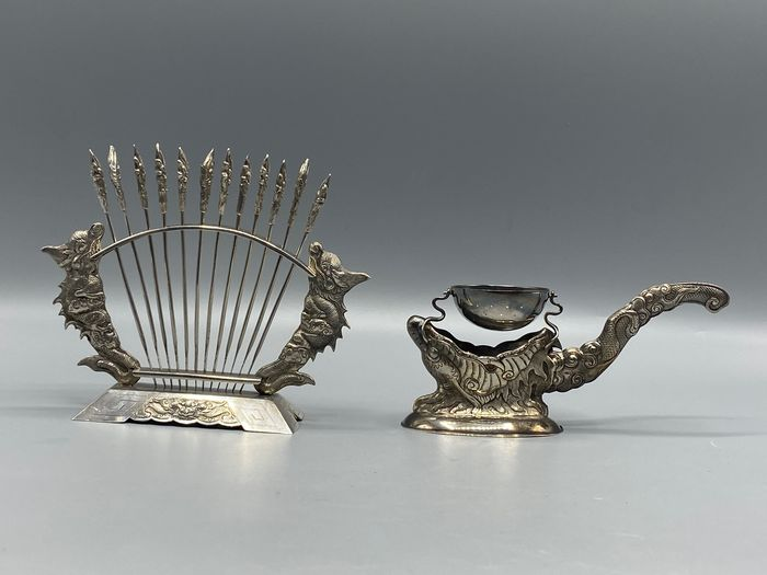 Tea leak and Fruit fork - .900 silver - Viet Nam - Early 20th century