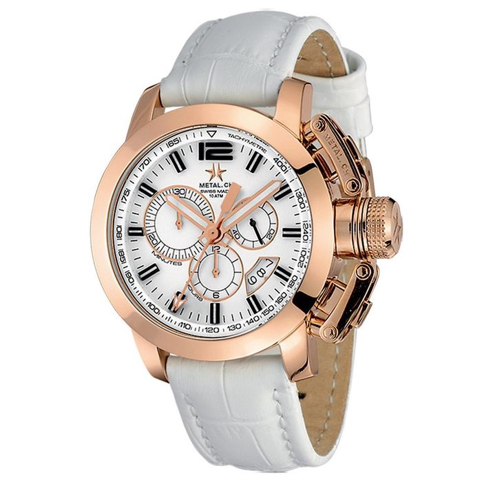 Metal.ch - Chronograph 44MM Rose Gold PVD Date with White Leather Strap Swiss Made - 2310.44 - Hombre - Brand New