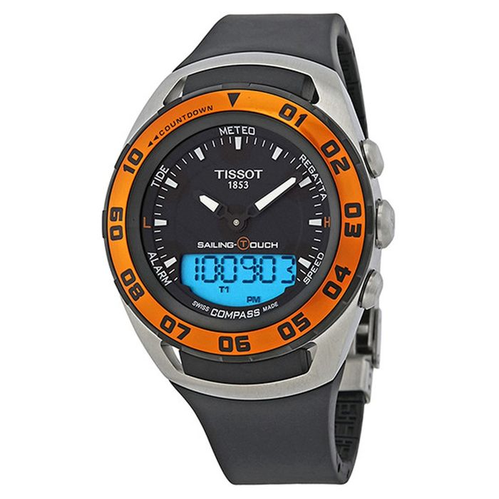 Tissot - Sailing Touch Chronograph Black Dial Silicone Strap Sapphire Crystal Swiss Made - T0564202705102 - Heren - Brand New