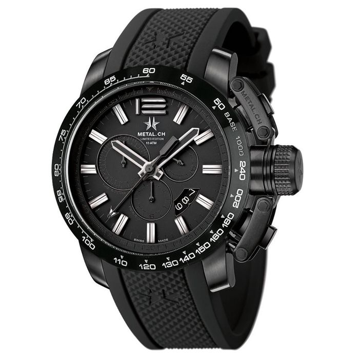 Metal.ch - Chronosport 44MM Black PVD Date with Black Rubber Strap Swiss Made - 4425.44 - Heren - Brand New