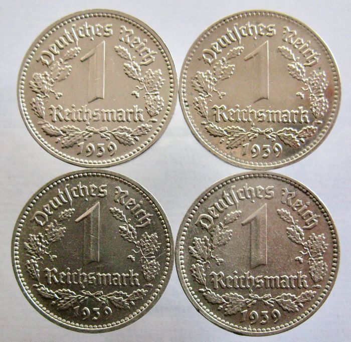 Germany - 1 Reichsmark 1939 D, E, F, J (4 different coins) all scarce - Nickel
