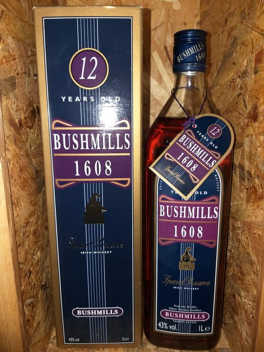 Bushmills 12 years old 1608 - Original bottling - b. Années 1990 - 1.0 Litre