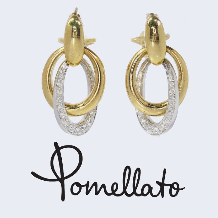 Pomellato - 18 kt. White gold, Yellow gold - Earrings, Short hanging, Original Vintage, Anno 1975 - Diamonds, Total diamond weight 0.90 crt - Natural (untreated)