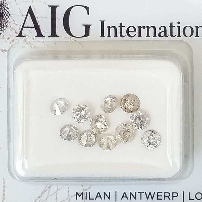 11 pcs Diamonds - 0.96 ct - Round - Mix Colors - I1, I2, I3 (piqué), SI2, ***No Reserve Price***