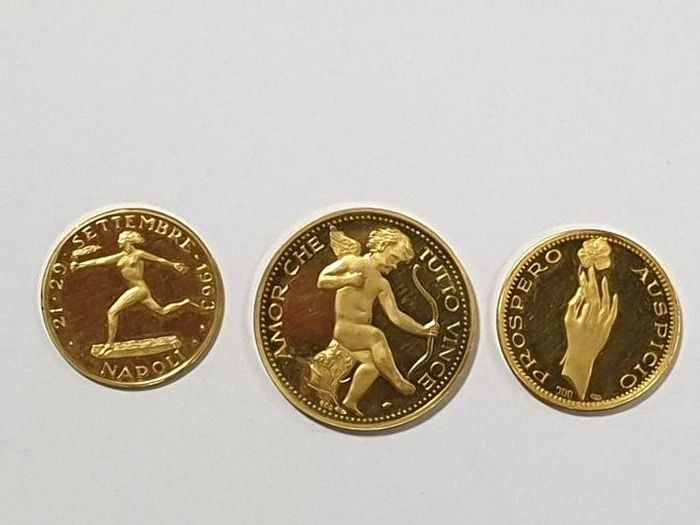 Italie - collection of 3 gold medal  1963 - Or