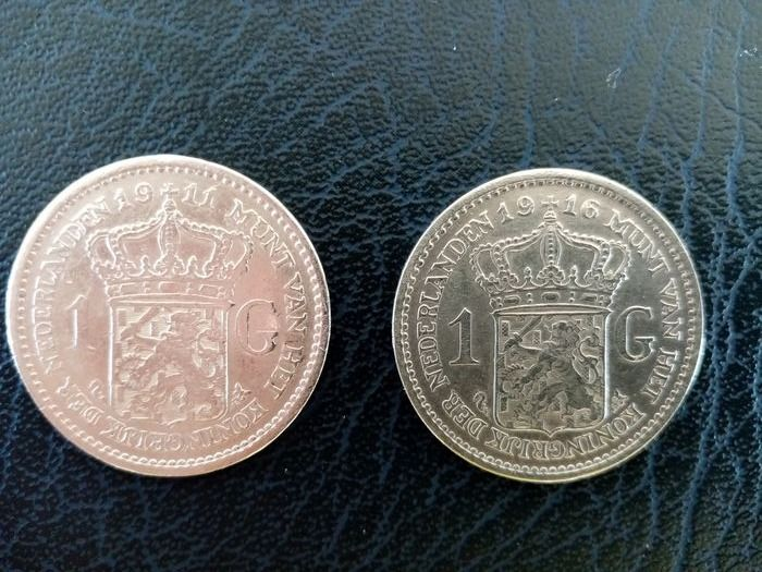 The Netherlands - 1 Gulden 1911 en 1916 - Silver