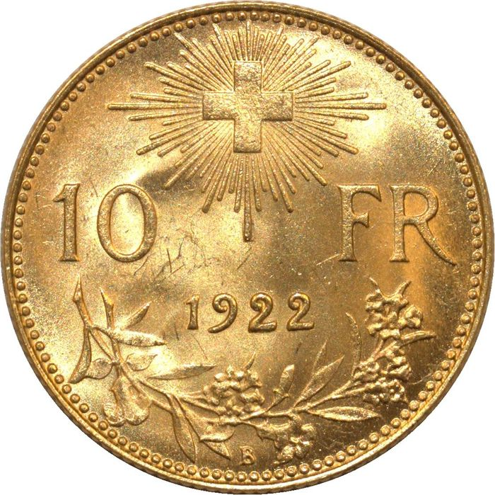 Switzerland - 10 Francs 1922 B Berne - Helvetia - Gold