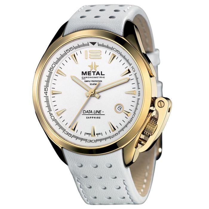 Metal.ch - Data Line Rose Gold PVD with White Leather Strap Swiss Made - 8310.41 - Herren - Brand New