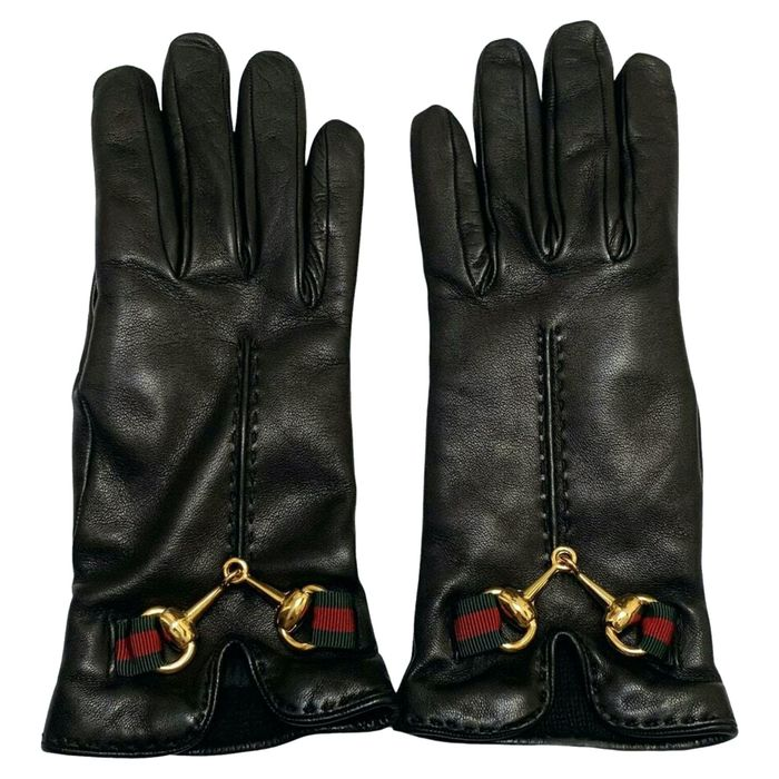Gucci - SIZE 6,5 BLACK LEATHER HW GOLD - BRAND NEW - SMALL INTERNATIONAL - Guantes de piel con cincha dorada