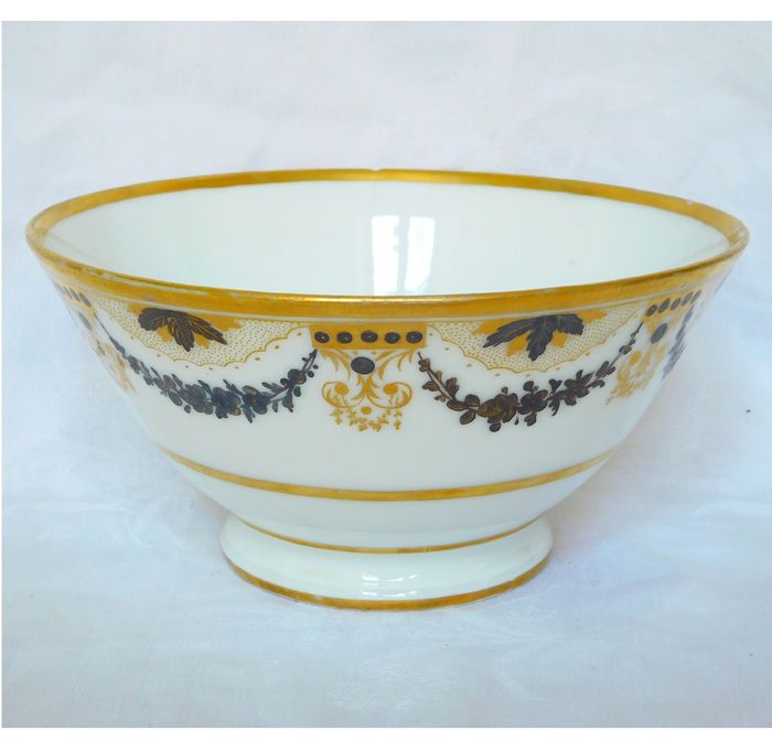 Porcelaine de Paris - jatte bowl with grisaille and gold decoration, Directoire period circa 1790 - Directoire - Porcelain
