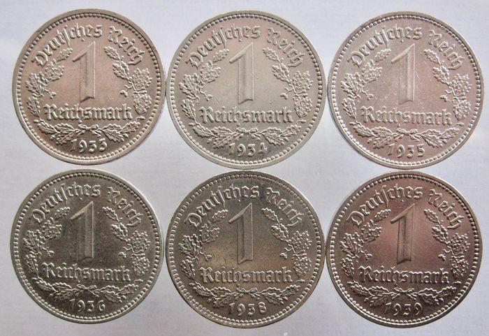 Germany - 1 Reichsmark 1933, 1934, 1935, 1936, 1938, 1939 A (6 different coins) all high grades - Nickel