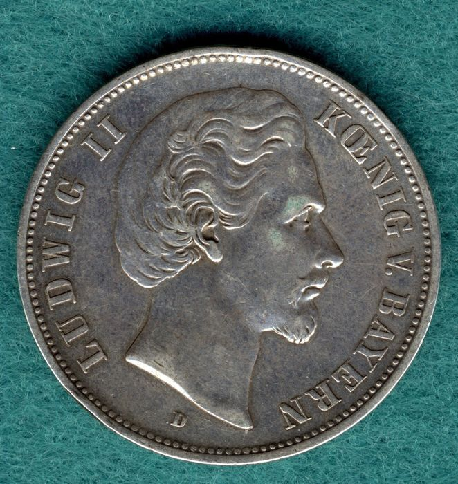 Germany - Bavaria - 5 Mark 1876 D - Ludwig II. - Silver