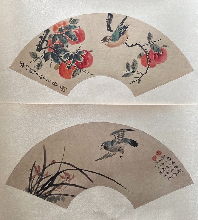 Watercolour (2) - Paper - Fan, in style of the artist - China - Second half 20th century