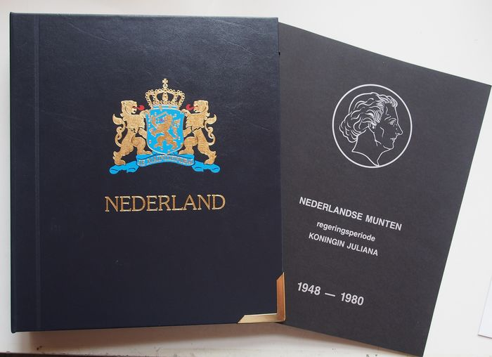 The Netherlands - Complete collectie Juliana 1950/1980  1 cent t/m 10 gulden in voordruk album, mét gouden opdruk.  - Bronze, Silver, Nickel