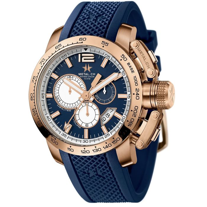 Metal.ch - Chronosport 44MM Rose Gold PVD Date with Blue Rubber Strap Swiss Made - 4353.44 - Hombre - Brand New