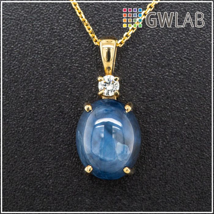 14 kt. Yellow gold, 1.71g - Necklace with pendant - 4.72 ct Sapphire - 0.07 ct Diamonds - No Reserve Price
