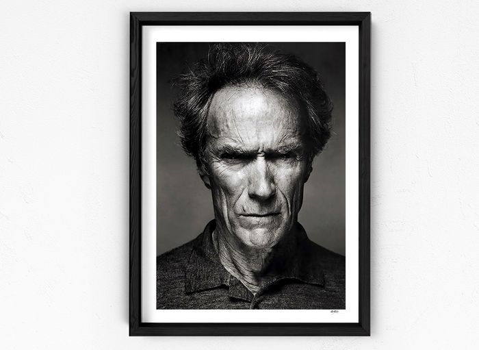 Clint Eastwood - Portrait - 1 - Photographie, Framed. with Coa - nr 01/50 - 70X50 cm