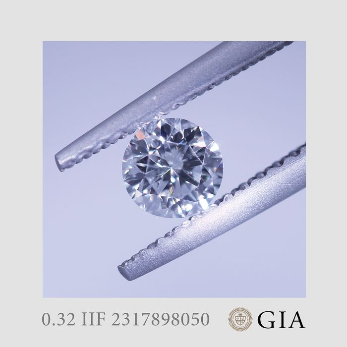 1 pcs Diamant - 0.32 ct - Briljant - I - IF (intern zuiver)