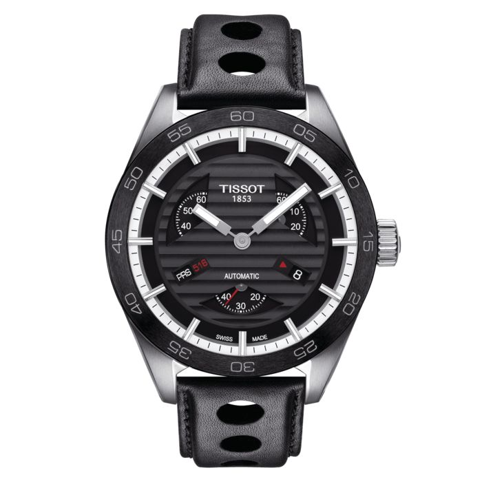 Tissot - PRS 516 Automatic Small Seconds Watch Black Leather Strap Sapphire Crystal Swiss Made - T1004281605100 - Heren - Brand New